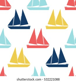 Retro boat seamless pattern. Vector illustration for nautical design. Bright yacht, ship, sailboat transport pattern. Marine sea cute wallpaper background. Cartoon silhouette shape wrapping pattern
