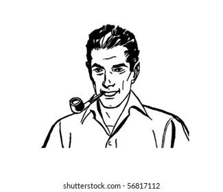 Retro Bob Smoking Pipe - Clip Art