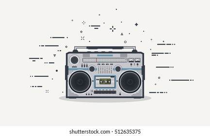 Retro boombox record player. Stereo redio 80s receiver. Old style audio beatbox with buttons and volume control. Flat style line vector illustration.