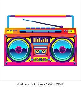 Retro boombox trendy style. Colorful illustration on white background