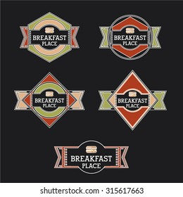 Retro breakfast place labels and badges