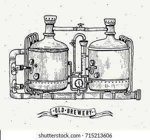 Retro brewery engraving. Copper tanks and barrels in brewery beer. Local brewery. Vintage vector engraving illustration for web, poster, label, invitation to oktoberfest festival, party. Vector