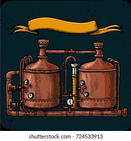 Retro brewery engraving. Copper tanks and barrels in brewery beer. Tanks from brewery factory, craft beer. Vintage vector engraving illustration on dark background with empty ribbon for text. Local