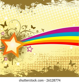 Retro bright background with star, rainbow and butterflies