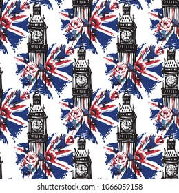 Retro british seamless pattern with Big Ben with roses and flag. Vintage London grunge illustration in watercolor style on white background.