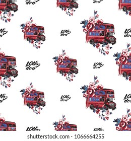 Retro british seamless pattern with London heart logo and london bus with flowers. Vintage london grunge illustration in watercolor style on white background.