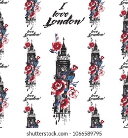 Retro british seamless pattern with I love London and Big Ben with roses. Vintage London grunge illustration in watercolor style on white background.