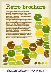 Retro brochure made from color hexagons