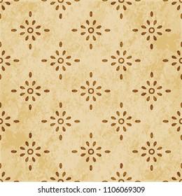 Retro brown cork texture grunge seamless background round cross dot flower