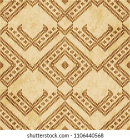 Retro brown cork texture grunge seamless background check triangle geometry cross stitch line