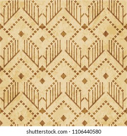 Retro brown cork texture grunge seamless background check geometry triangle cross stitch line frame