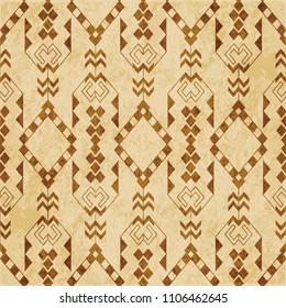 Retro brown cork texture grunge seamless background check triangle aboriginal arrow cross