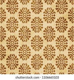 Retro brown cork texture grunge seamless background curve cross flower crest