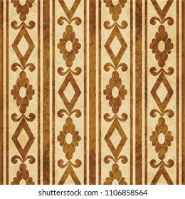 Retro brown cork texture grunge seamless background check square curve cross flower frame line