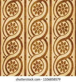 Retro brown cork texture grunge seamless background round curve spiral cross frame flower