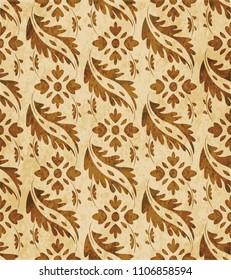 Retro brown cork texture grunge seamless background curve spiral cross leaf vine flower