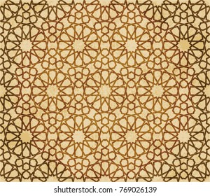 Фотообои Retro brown Islam seamless geometry pattern background eastern style ornament