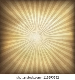 Retro brown sunburst background. Vector illustration, EPS10.