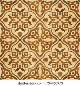 Retro brown watercolor texture grunge seamless background flower leaf vine cross