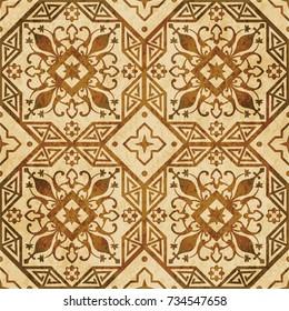 Retro brown watercolor texture grunge seamless background octagon geometry cross flower vine