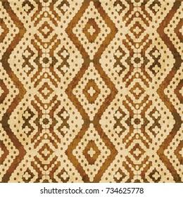 Retro brown watercolor texture grunge seamless background aboriginal diamond cross check