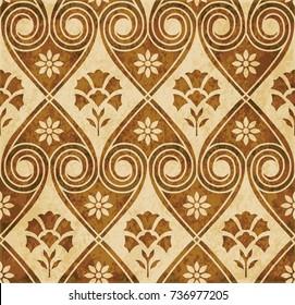Retro brown watercolor texture grunge seamless background spiral round heart cross flower