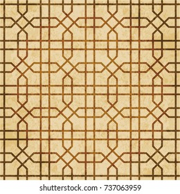 Retro brown watercolor texture grunge seamless background octagon cross geometry frame