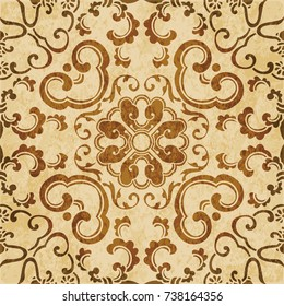 Retro brown watercolor texture grunge seamless background curve spiral vine cross flower