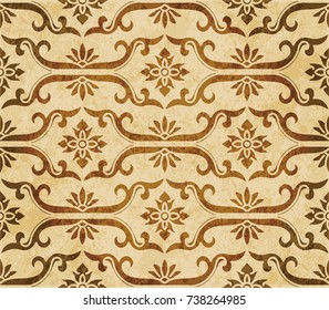 Retro brown watercolor texture grunge seamless background spiral cross frame flower