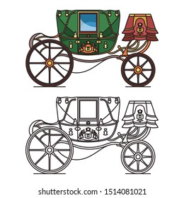 Retro buggy for wedding or vintage royal chariot. Coach or old victorian transport. Fairytale queen or princess cart or brougham, medieval wagon. Outline and contour icons. Wedding, marriage carriage