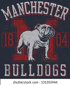 "Retro ""Bulldogs"" athletic design complete with bulldog mascot vector illustration, vintage athletic fonts and matching textures"