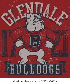 """Retro """"Bulldogs"""" athletic design complete with bulldog mascot vector illustration, vintage athletic fonts and matching textures"""