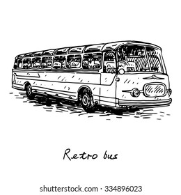 Retro bus. Picture of old transport. Vector hand drawn sketch.