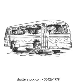 Retro bus. Picture of old transportation. Vector hand drawn sketch.