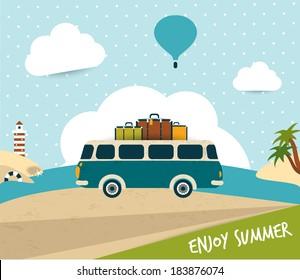 Retro bus. Summer trip concept.