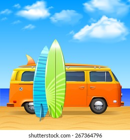 Retro bus with surf boards on summer sea background vector illustration