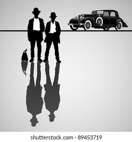 Retro businessmen with retro car. Vector illustration