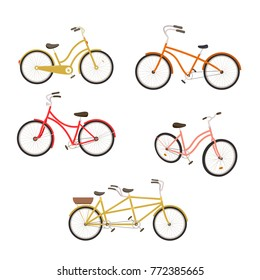 Retro bycicles set. Vector illustration.