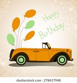 Retro cabriolet car. Happy Birthday. Car with balloons.
