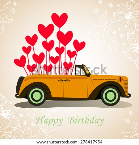 Retro Cabriolet Car Happy Birthday With Hearts