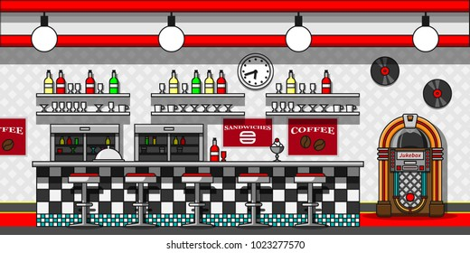 Retro cafe interior flat line vector illustration.