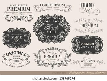 Retro calligraphic design elements label and page decoration/ vector set