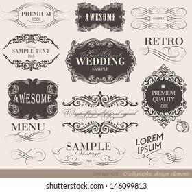 Retro calligraphic design elements and page decoration/ vector set/ typography Design