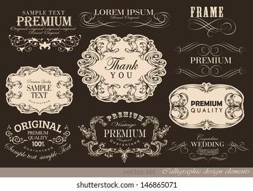 retro calligraphic design elements and page decoration