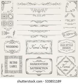 Retro Calligraphic Design Elements and Page Decoration Set. Vector Illustration.