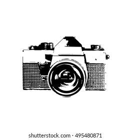 Retro Camera In Black And White Vintage Icon