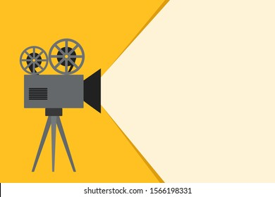 Retro camera film tape  with ray of light on yellow background for your design, stock vector illustration