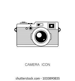 Retro Camera Icon isolated on White Background. Vector Illustration. Line Style.