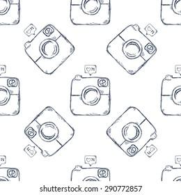 Retro camera seamless pattern