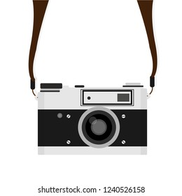 Retro camera with strap in a flat style isolated on white background.